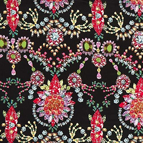 Chiffon Juwel (Fabulous Fabrics Chiffon Juwelen - schwarz/pink - Meterware ab 0,5m - zum Nähen von Accessoires, Blusen und Kleider)