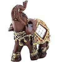 Hilitand Chanceux Richesse Éléphant Statue Sculpture Feng Shui Grain De Bois 3D Figurine Home Desktop Décoration Cadeau…