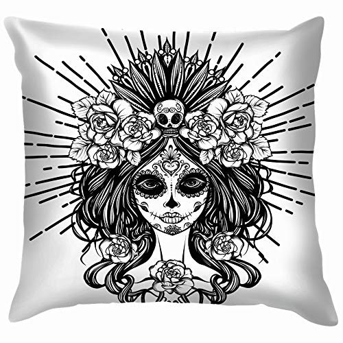 s Muertos Holidays Skull Pillow Case Throw Pillow Cover Square Cushion Cover 18X18 Inch ()