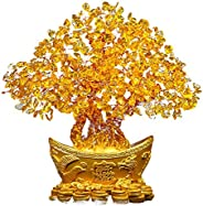 Auntwhale Feng Shui Natural Citrine Yellow Crystal Money Tree Chinese Dragon Pots Best Gift