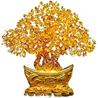 Haihuic Feng Shui Gema citrina Árbol de Dinero de Cristal Amarillo 18 cm Olla de lingotes de Oro Suerte de Riqueza para la Sala de Estar en casa Dormitorio Oficina