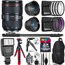 "Canon 24-105mm Is II USM Lens 1380C002 + 0.43X Wide Angle Lens + 2.2X Telephoto Lens + Flash + UV-CPL-FLD Filters + Macro Filter Kit + 72"" Photo/Video Monopod - International Version"