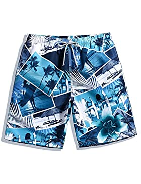 HAIYOUVK Casual Men'S Beach Shorts Quick-Drying Loose Plus Size Shorts Pants Photo Blue Printed Boxer Shorts,Xxxl...