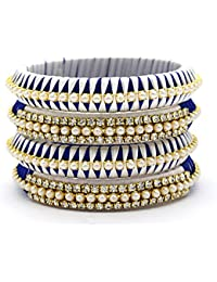 Indi Creation Silk Thread Bangles Set For Women Girl Ethnic Wear Traditional Bangle Set Blue & White Color Pack...