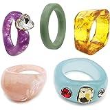 ZZ ZINFANDEL 5 قطع الراتنج الاكريليك خواتم حجر الراين الاكريليك ملون جميل خاتم حجر الراين للنساء الفتيات، أزياء العفن سيليكون