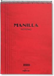 Lé Color 41300/1 Manila Notepad Yumuşak kapak, 1.hamur kağıt Spiralli Notepad, Kırmızı