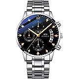 OLMECA Men's Watches Sports Fashion Business Diamonds Wristwatches Chronograph Calendar Date Waterproof Quartz Watches Stainl