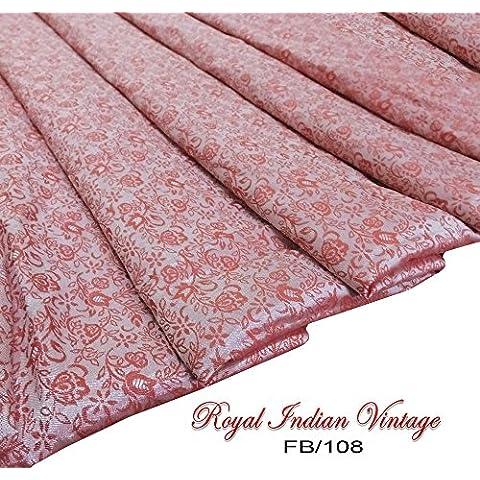 cortina de tela de la vendimia de material sari drapeado usa vestido indio hecho a mano decoración de su casa roja haciendo diseño de la ropa de moda floral almohada tejido de mezcla de seda india por el traje de patio de 42