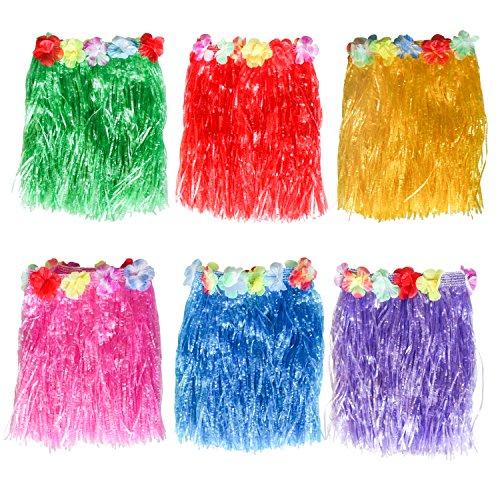 Kurtzy Hula Rock für Hawaii Mädchen Ketten Kostüm Party Set 6 Kostüm Röcke zum Tanzen - Damen Grasrock mit Blume - Frauen, Mädchen, Erwachsene Tänzer Hawaiikette Mehrfarbiger Hawaii-Rock