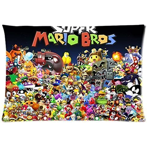 Custom Super Mario Brothers Pillowcase/Fundas para almohada 20x30 Twin sides Zippered Rectangle Pillowcase/Fundas para almohada Throw Pillow Covers by