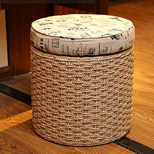 Yuan Polsterhocker Fußhocker Korb Schuh Bank Foyer Rattan Weben Hocker Wohnzimmer Schminktisch Shopping Mall Schuhgeschäft Lagerung Hocker, 40 * 43cm. /Hocker (Farbe : Style-2)