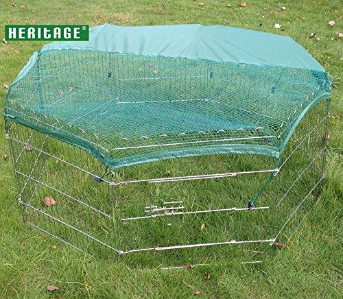 Heritage Cages 139,7cm Outdoor Octagon Kaninchen/Meerschweinchen Run Käfig, für Hund, Katze, Huhn, PET Pen/Laufgittereinlage mit Abdeckung für Sonnenschutz, 140cm, silber 8Panel