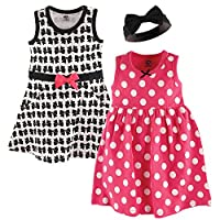 Hudson Baby Baby Girls' 3 Piece Dress and Headband Set, Bows 12-18 Months (18M)