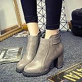 Spritech (TM) de las mujeres niñas Fashion antideslizante Invierno Tacón Alto Estilo Británico botas de tobillo botas de piel con cremallera