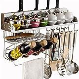 BOBE SHOP- Küchenregal - Wandregal Gewürzregal / Messerhalter / Edelstahlregal, mit Haken ( größe : 80cm )