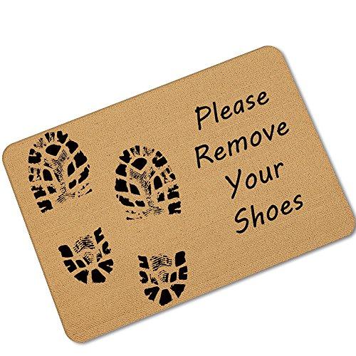 eureya Bitte entfernen, Sie Schuhe Tür Mats Fußmatte Rutschfeste Badezimmer Wohnzimmer Küche Matte Bereich Teppiche für Innenbereich/Außenbereich 40x 60cm-perfect Geschenk (Bitte Entfernen Sie Schuhe Tür Matte)