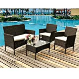 Leisure Zone ® rattan garden furniture sets patio furniture set garden furniture rattan garden furniture set table chairs sofa patio conservatory wicker (Brown)