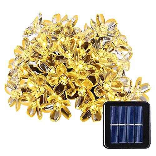 lederTEK Solares Luces de Hadas de Cuerda 6.5m 50 LED Blanco Cálido Flor Decorativos Exterior [Clase de eficiencia energética A++]