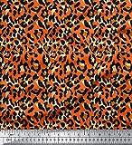 Soimoi Naranja popelina de algodon Tela leopardo piel de animal estampada de tela por metro 58 Pulgadas de ancho