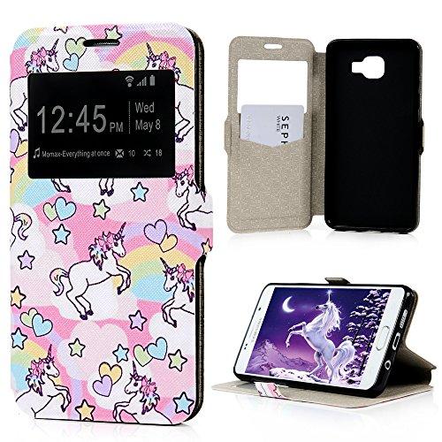 NOT-FOR-2015-Samsung-Galaxy-A5-2016-Case-CoverBADALink-Bunte-Serie-Hlle-Flip-PU-Ledertasche-Schutzhlle-Handyhlle-fr-Samsung-Galaxy-A5-2016-Mit-Bunte-Liebe-Einhorn-Design-und-Magnetverschluss-Stand-Hal