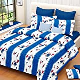 Prisha Cotton Sky Blue Royal Double Bed Sheet With 2 Pillow Covers