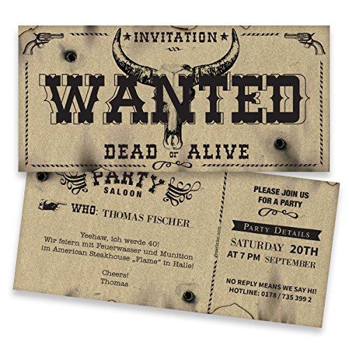 Einladungskarten Geburtstag - Wanted - Wilder Westen | 40 Stück | Vintage | Lustige Geburtstagseinladungen | Karte Einladung | Personalisieren - Druck Ihrer Texte inklusive
