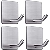 HASTHIP ® 4 Packs Stainless Steel Self Adhesive Heavy Duty Stick on Towel Wall Sticky Hooks for Hanging Bathroom Home…