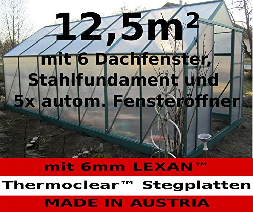 12,5m² PROFI Gewächshaus Glashaus Treibhaus inkl. Stahlfundament u. 6 Fenster, mit 6mm Hohlkammerstegplatten – (Platten MADE IN AUSTRIA/EU) inkl. 5 autom. Fensteröffner von AS-S