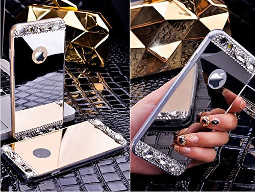 Für iPhone 7,Etsue Soft Silikon Schutzhülle Handyhülle Schutzhülle Silikon Backcover Case Dünn Anti-Shock Bumper Case Schön Mode Niedlich Muster Ultradünne TPU Silikon Weich Flexible Schutzhülle Stoßd Diamant,Silber