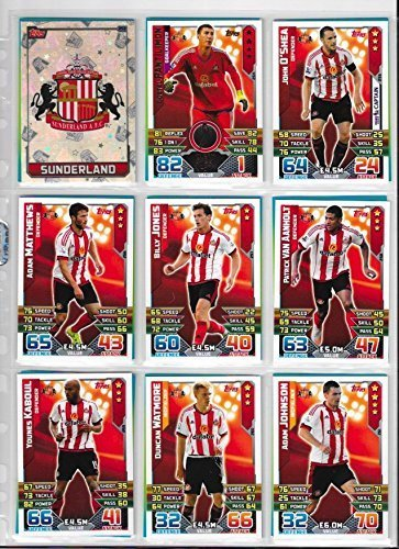 Match Attax 2015 2016 Sunderland Full Base Team  Club Badge and Star Player 18 Cards