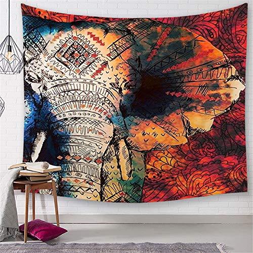Elephant Tapisserie Murales, Morbuy Psychédélique Boho Décoration Tenture Couverture Pique-Nique Polyester Nappe Serviette de Plage Yoga Indienne Halloween Tapestry (Grand (150 x 200cm), Vintage bleu rouge)