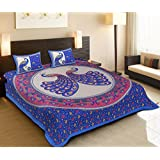 Cortina Classic 104 TC Cotton Single Bedsheet With Pillow Cover - Abstract, Blue