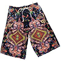 TT Pantalones de playa sueltos de cinco puntos de secado rápido para hombres,Flores negras,XL