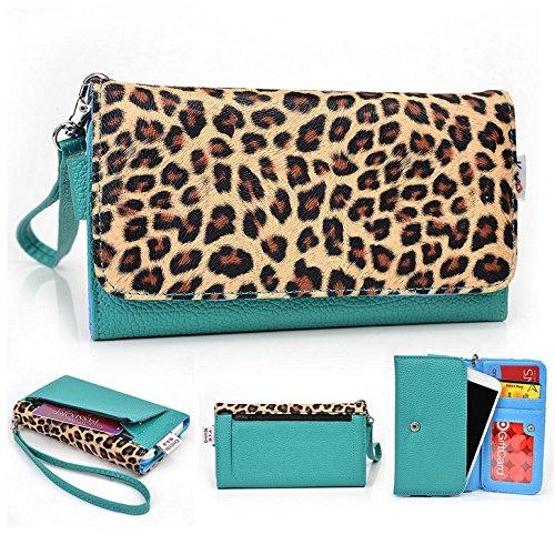 Kroo Pochette Téléphone universel Femme Portefeuille en cuir PU avec sangle poignet pour Xolo A1010/8x -1020 Multicolore - Blue and Red Multicolore - Emerald Leopard