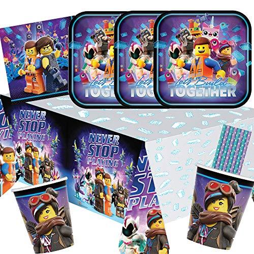 Amscan/Hobbyfun 41-teiliges Party-Set Lego Movie 2 - Teller Becher Servietten Tischdecke Trinkhalme blau/lila für 8 Kinder (Lego-geburtstag-kuchen-dekorationen)