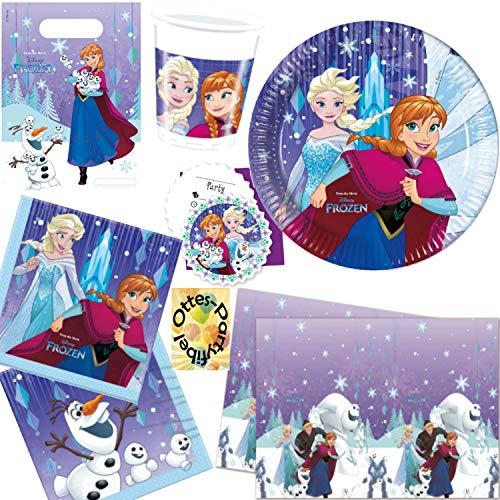 HHO Snowflake Frozen Eiskönigin Anna & ELSA Partyset 77tlg. für 12 Kinder Teller Becher Servietten Tischdecke Tüten Einladungen