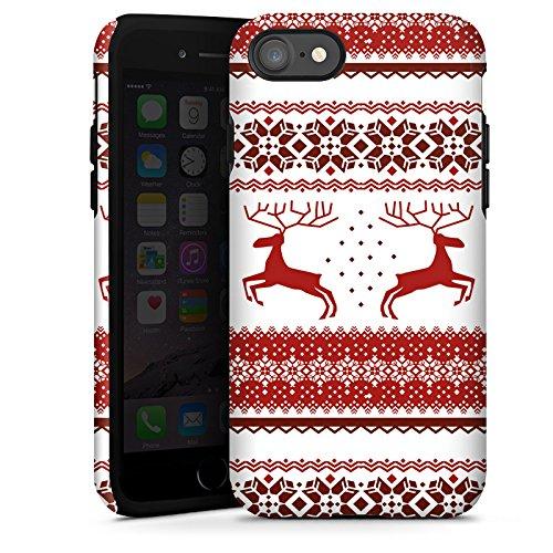 Apple iPhone X Silikon Hülle Case Schutzhülle Rentiere Weihnachten Norwegermuster Rot Tough Case glänzend