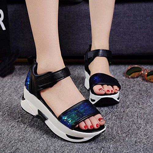 Webla Damen Sommer Sandalen Schuhe Peep-Toe High Schuhe Römische Sandalen Damen Flip Flops Blau