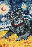 DIYCCY Van Brummen Schwarz Mops 31,8x 45,7cm Dekorative Puppy Dog Portrait Starry Night Garden Flagge