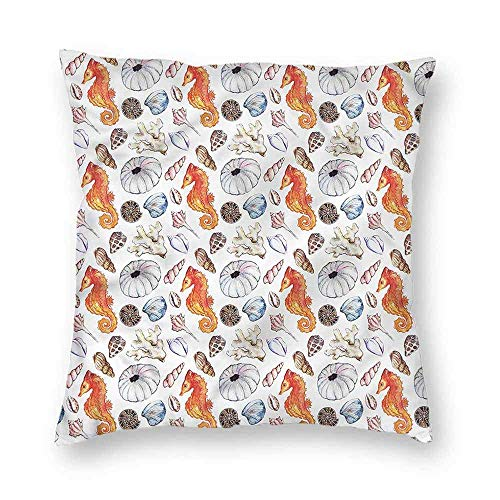 Dress rei Animal Square Form Decorative Pillow Shell Crabs Seahorse Soft Polyster 18x18 Inch Rei Soft Shell