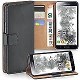 Samsung Galaxy S5 Mini | Hülle Dunkel-Grau mit Karten-Fach [OneFlow 360° Book Klapp-Hülle] Handytasche Kunst-Leder Handyhülle für Samsung Galaxy S5 Mini Case Flip Cover Schutzhülle Tasche