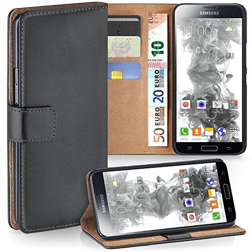 moex Samsung Galaxy S5 Mini | Hülle Dunkel-Grau mit Karten-Fach 360° Book Klapp-Hülle Handytasche Kunst-Leder Handyhülle für Samsung Galaxy S5 Mini Case Flip Cover Schutzhülle Tasche