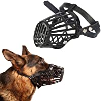 Sage Square Adjustable Strap Muzzle Cum Mouth Cover Cum Basket Cage Cum Pet Safety Collar for Anti Biting Dog (Black…