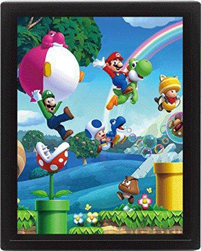 1art1 95173 Super Mario - Bros Wii U 3D-Poster (gerahmt) 25 x 20 cm (Mario Brothers Dekorationen)