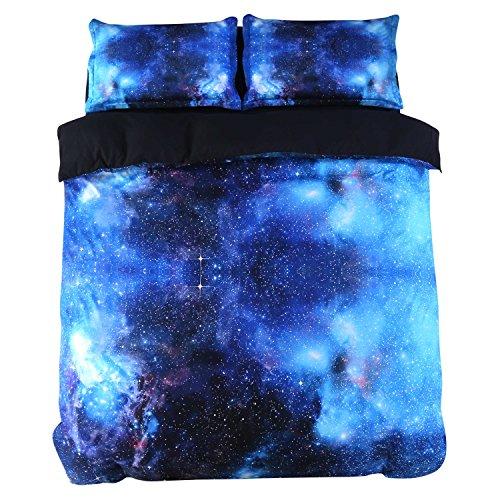 ammybeddings Charming, Blau Galaxy Print 3D Bettwäsche Sets Blau, Fadenzahl 800, Bettwäsche-Sets, 4-teiliges Baumwolle Bettbezug Sets Blau, blau, Twin-5PCS -