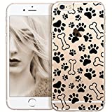 OOH!COLOR iPhone 6 Plus/6s Plus Hülle Silikon Schutzhülle Tiger Tierspuren Elastische Cover Dünn Bumper Transparent Tier Hund Dog Design Case Slim Etui