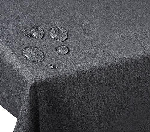 Tischdecke Lotuseffekt Leinenoptik abwaschbar Tischtuch Leinentischdecke Pflegeleicht Fleckschutz schmutzabweisend Farbe & Größe wählbar Eckig 130x160 cm grau