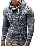 LEIF NELSON Herren Pullover Hoodie Kapuzenpullover Strickpullover Longsleeve Sweater Sweatshirt Pulli LN20227; Größe 4XL, Grau