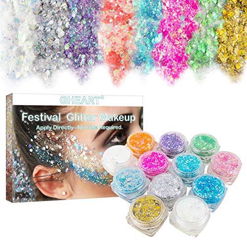 Festival Glitzer, Chunky Glitter Gel für Gesicht Körper Haare LidschattenLippen, Makeup BodyGlitzer Sequin, Gold Glitter Glue für Musik Masquerade, Halloween, Party, Weihnachten - 12 Farben * 5g
