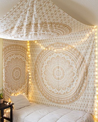 Traditional Jaipur - Golden Ombre tapices, Mandala colgar en la pared, ropa...